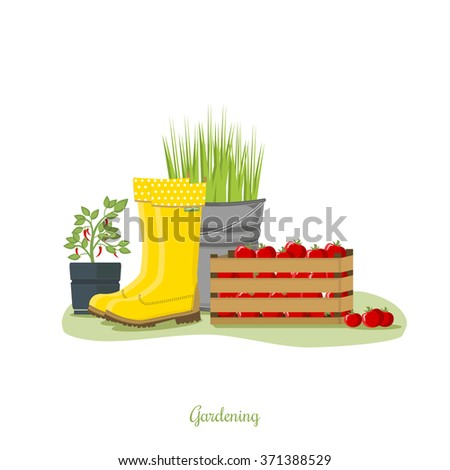 Spring gardening. Garden icon set. Garden pattern. Planting and cultivating. Picture with  yellow rubber boots, wooden box with tomatoes, bucket with grass and chili pot - stock vector