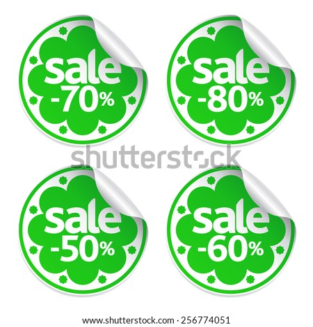 Spring sale green stickers set - stock vector