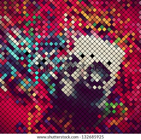 square pixel mosaic abstract light disco background vector eps 10 - stock vector