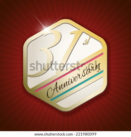 31st Anniversary - Classy and Modern golden emblem / Seal / Badge - vector illustration on red rays background