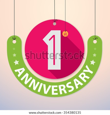 1st Anniversary - Colorful Badge, Paper cut-out - stock vector