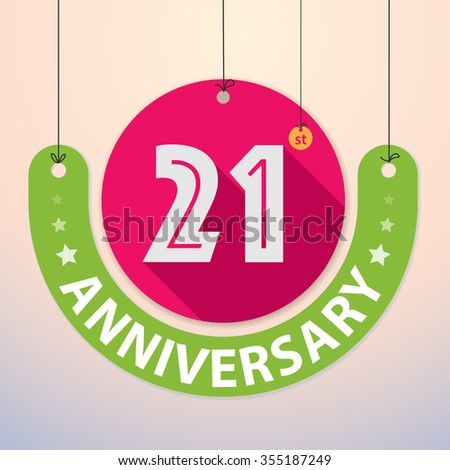 21st Anniversary - Colorful Badge, Paper cut-out - stock vector