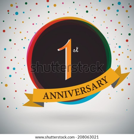 1st Anniversary poster / template design in retro style - Vector Background - stock vector
