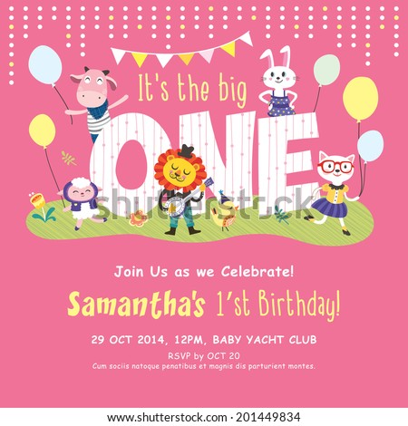 1st birthday party invitation card stock vector 201449834 1st birthday party invitation card stopboris Image collections