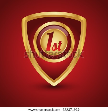 1st metal gold shield on isolated background - stock vector