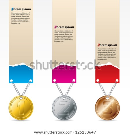 1st, 2nd and third prize labels with ripped design - stock vector