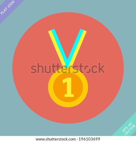 1st Position Gold Medal Icon - vector illustration. Flat design element