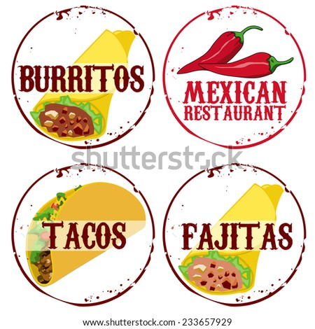 4 stamps Mexican food - stock vector