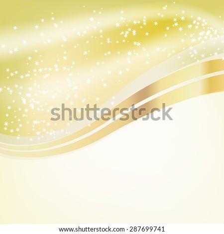 stars flowing over golden background - stock vector