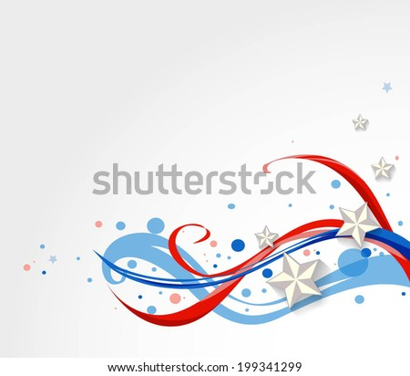 stars on national flag waves background  - stock vector