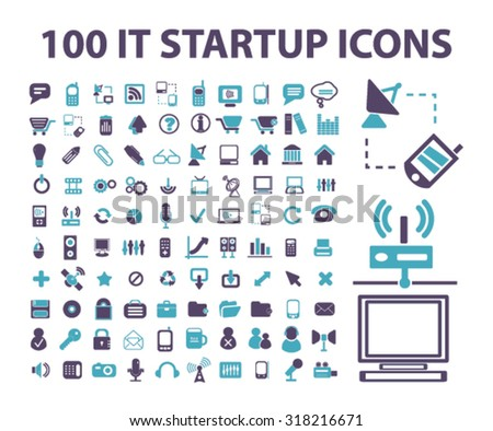 100 startup, business ,technology signs, icons, vector