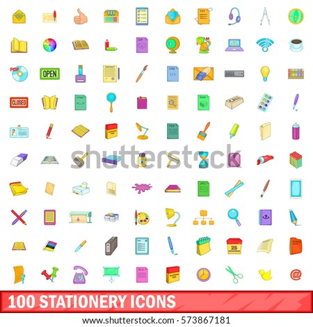 100 stationery icons set in cartoon style for any design vector illustration