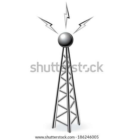 steel tower with metal antenna - stock vector