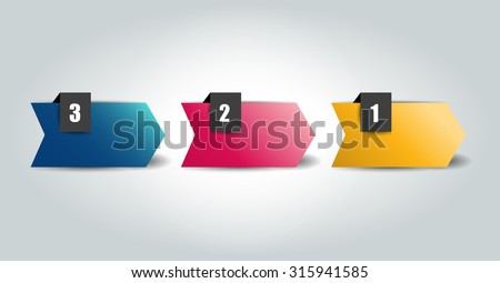 3 Steps arrow tutorial, chart, diagram. One, two, three concept. - stock vector