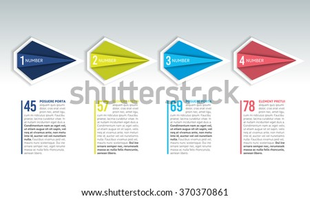 4 Steps arrow tutorial, chart, diagram, step by step chart. One, two, three, four concept. - stock vector