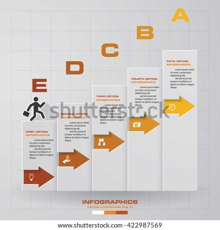 5 steps business man walking up to the top Infographics vector design template. Simple&Editable for your sample text. Business clean template. EPS 10. - stock vector