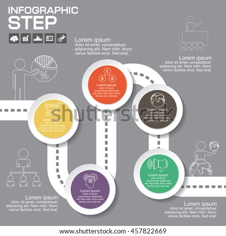 5 Steps Infographic Design Elements for Your Business Vector Illustration.