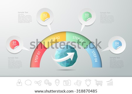 4 steps infographic speech bubble. can be used for workflow layout, diagram, number options - stock vector