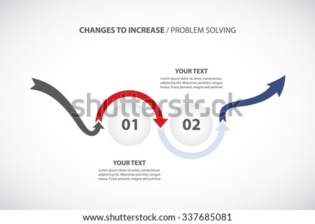 2 Steps of Change / Problem Solving - vector Infographic template with original arrows - stock vector