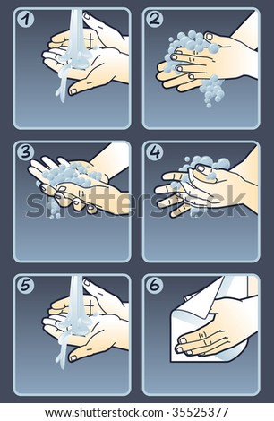 6 Steps Prevent Spread Germs Handwashing Stock Vector Royalty Free