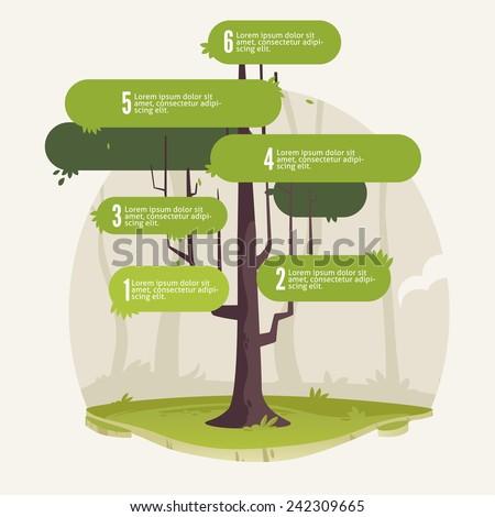 6 steps tree - stock vector