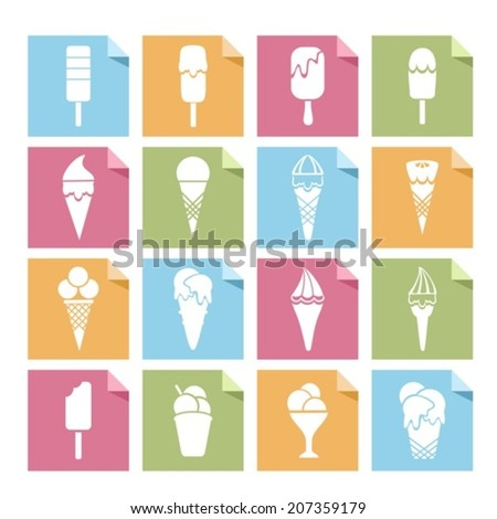 Stickers with ice cream. Vector.  EPS-10 (non transparent elements,non gradient)   - stock vector