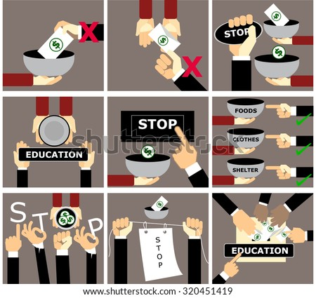 stop giving the money to beggar vector set,hand stop child begging concept in flat style - stock vector