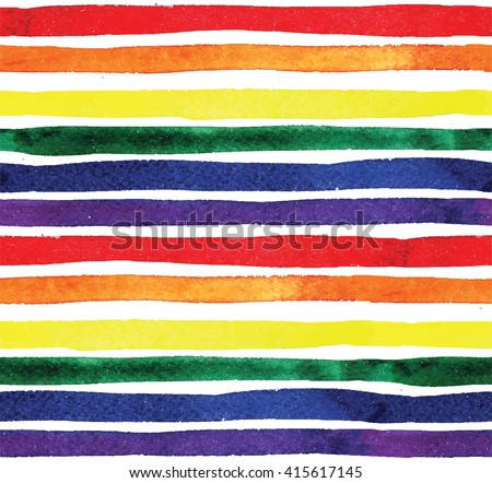 Striped colorful background with a watercolor texture. Rainbow horizontal streaks . Seamless pattern .