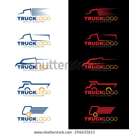 5 style blue red and yellow truck logo vector design - stock vector
