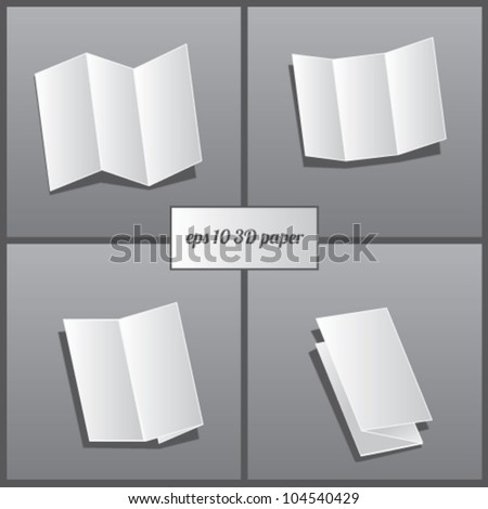 4 style 3d paper blank set vector - stock vector