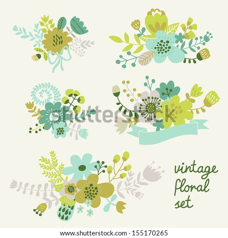 5 stylish floral design elements in vector - stock vector