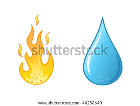 stylish hot flame  and water drop on white background,  vector illustration - stock vector