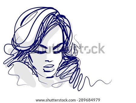 stylish  original hand-drawn graphics portrait  with beautiful young attractive girl model for design. Fashion, style,    beauty . Graphic, sketch drawing. Sexy  woman     - stock vector