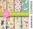 8 stylish seamless patterns with funny cartoon animals in vector - stock vector