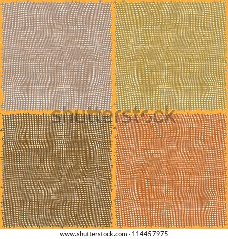 Stylized cotton textures in seamless square composition - stock vector