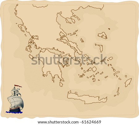 Stylized old Greece map - stock vector
