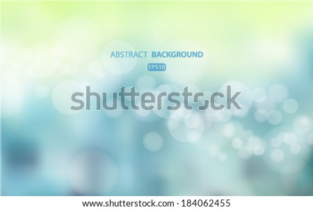 summer abstract blurred blue background with bokeh effect. Spring, nature, overcast. Vector EPS 10 illustration. - stock vector