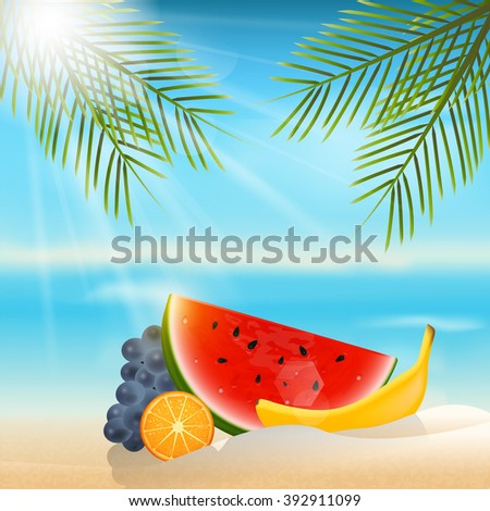 Summer background with fruits.Orange,banana,grapes and watermelon. - stock vector