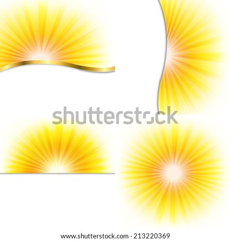 4 Summer Beams Posters, With Gradient Mesh, Vector Illustration - stock vector