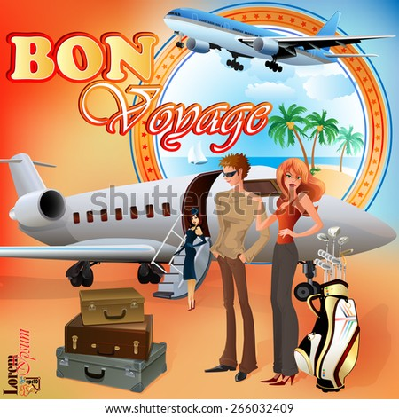 Summer Holiday design template;Young tourists preparing for journey; Exotic landscape in medallion; Suitcases, golf clubs and airplane ready  to go.    - stock vector