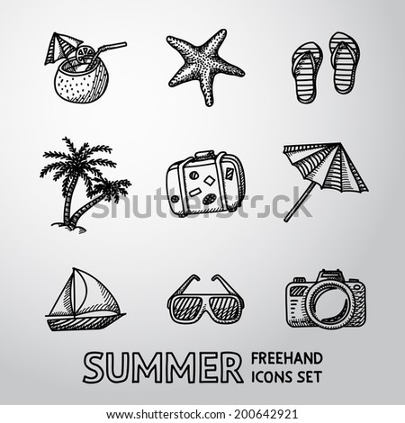 Summer holidays monochrome freehand icons set with - coconut cocktail, fish star, slippers, palms, suitcase,beach umbrella,yacht,sun glasses, photo camera. - stock vector