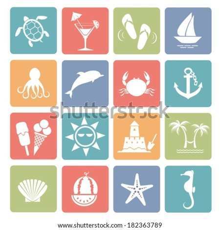 Summer icons for your design. Vector.  EPS-10 (non transparent elements,non gradient).  - stock vector