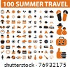 100 summer travel icons, signs, vector illustrations - stock vector