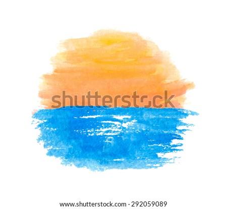 Sunrise over the water, vector logo illustration - stock vector