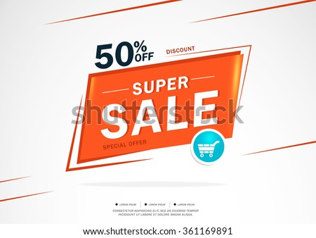 Super Sale and special offer. 50% off. Vector illustration.Theme color. - stock vector
