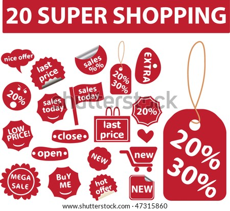 20 super shopping signs. vector
