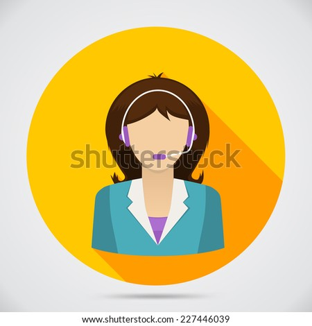 Support assistant flat design. Customer service. Vector illustration - stock vector