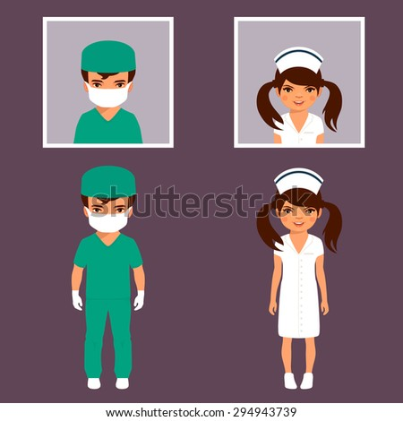 surgeon and nurse personnel, hospital staff people, vector medical icon illustration  - stock vector