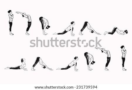 suria namaskar sun salutation complex yoga stock vector