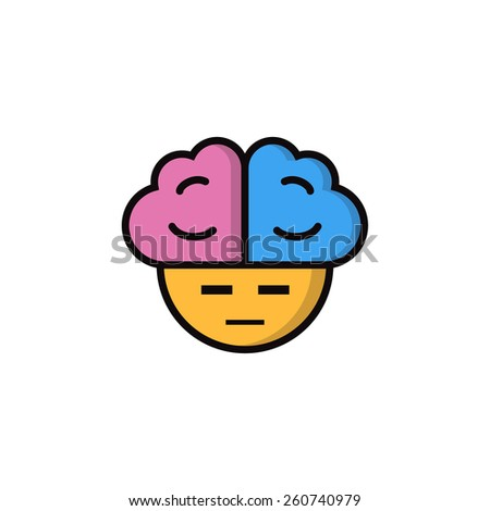 Suspicious smiley with big brains - stock vector